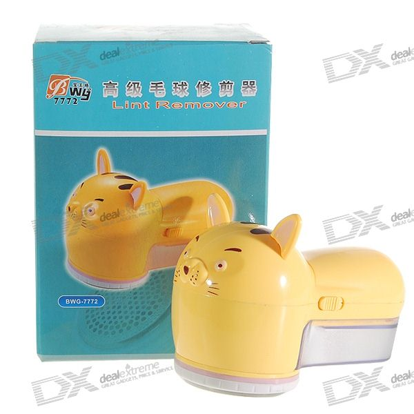 Cute Cat Cloth Lint Remover with Brush (2*AA) makeup remover cloth 2pcs