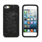 Rose Embossed Style Protective Anti-Skid Silicone Back Case for iPhone 5 - Black