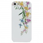 3D Flower with Rhinestone Pattern Protective PC Hard Back Case for Iphone 5 / 5s - White