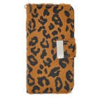 KALAIDENG Leopard Pattern Protective Flip Open PU Case w/ Hand Strap for Iphone 5 - Brown + Black