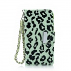 KALAIDENG Leopard Style Protective PU Leather Case w/ Hand Strap for Iphone 5 - Green + Black