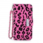 KALAIDENG Leopard Protective PU Leather Case w/ Hand Strap for Iphone 5 - Deep Pink + Black