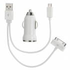 2-in-1 USB Adapter Cable + Car Cigarette Charger for iPhone 3G / 4 / 4S / Samsung / HTC - White