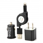 USB US Plug Power Adapter + USB Car Charger + Retractable USB auf 8Pin Blitz Cable Set - Schwarz
