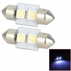 LY225 Festoon 31mm 0.6W 22lm 2-SMD 5050 LED White Light Car Lamps - (DC 12V / 2 PCS)