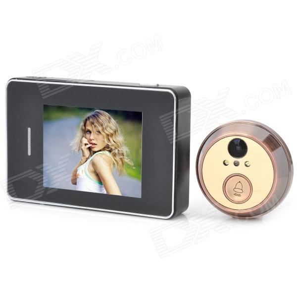 "2.8"" Touch Screen 2.0 MP CMOS Digital Peephole Video Doorbell w/ 2-LED Night Vision - Black"