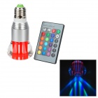 E27 3W 250lm RGB bunten LED Crystal Light Bulb w / Remote Controller - Red + Silver (85 ~ 265V)