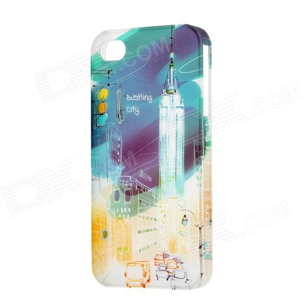 BASEUS UPAPIH4S-BC Graffiti Pattern Plastic Back Case for Iphone 4 / 4S - Blue + White