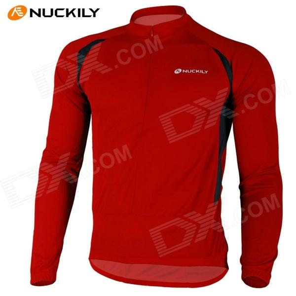 NUCKILY NJ600-L Bike Cycling Polyester Long Sleeve Riding Jersey - Red (Size L)