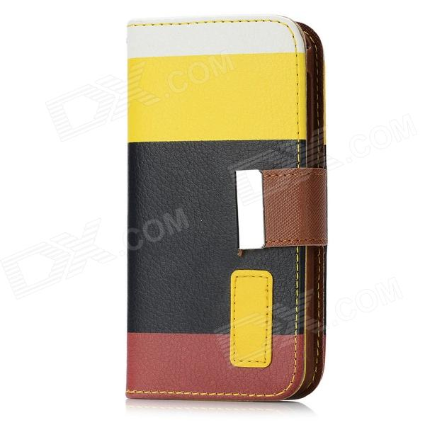 Protective Flip Open PU Leather Case w/ Card Slot / Strap for Iphone 5 - Multi-Colored protective flip open pc pu leather case w holder card slot for iphone 5 5s black