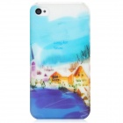 BASEUS Dream Countryside Design Protective Plastic Back Case w/ Screen Guard for Iphone 4S - Blue