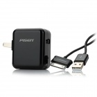PISEN AC Power Adapter Charger w/ USB Output for Samsung P6800 / P6200 / P7500 + More - Black