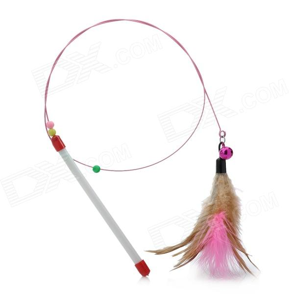 Funny Chicken Feather w/ Small Bells Toy for Pet Cat - Pink + Brown