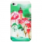 BASEUS Tranquil Village Pattern Protective PC Back Case w/ Screen Guard for Iphone 4S - Green + Red
