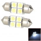 Festoon 31mm 1.2W 44lm 4-SMD 5050 LED White Light Car Interior / Reading Lamps (DC 12V / Pair)