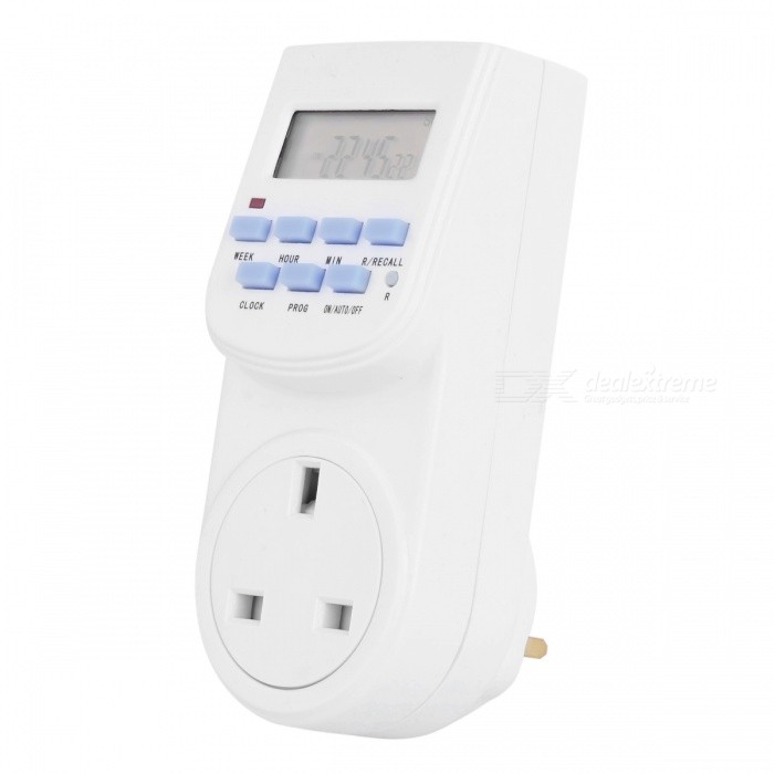 "TE-K26 1.5 ""Tela de soquete Digital Switch programável Timing - White (UK Plug / AC 220 ~ 240V)"