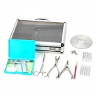 E11011 4-in-1 Tattoo Perforated Piercing Kit Tools Set - Silver + Black