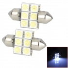 LY223 Festoon 31mm 1.8W 66lm 6-SMD 5050 LED White Light Car Interior / Reading Lamp (DC 12V / 2 PCS)