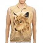 Fashion 3D Wolf Head Pattern Warm Fleece Vest w/ Zipper for Men - Yellow (Size XXL)