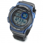 A1278 Water Resistant PU Band + Plastic Case Quartz Analog Wrist Watch w/ Compass - Black + Blue