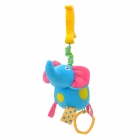 Lokyee 02154 Elephant Shape Pulling Vibration Bed Hanging Toy w/ Clip for Baby - Blue + Deep Pink