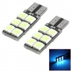 SENCART T10 2.4W 144~168lm 12-SMD 5050 LED Ice Blue Car Lamps (2 PCS / 12~16V)