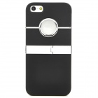 Protective Plastic Back Case w/ Stand for iPhone 5 - Black + Silver