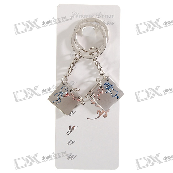 Stainless Steel Mini Note Book Couple's Keychains (2-Piece Set)