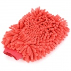Double-Side Elastic Chenille Fiber Car Washing Glove - Red
