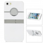 Protective Plastic Back Case w/ Stand for iPhone 5 - White + Silver