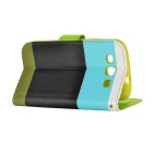 Protective Flip-Open PU Leather Case w/ Strap + Card Slot for Samsung Galaxy S3 - Multicolored