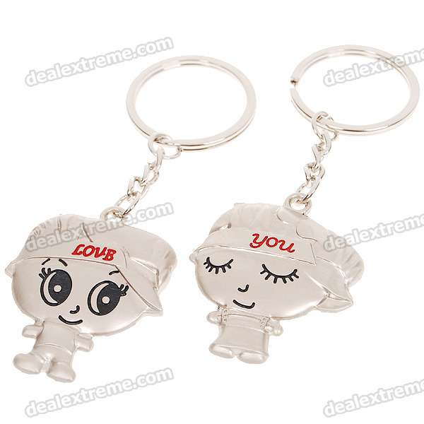 Stainless Steel Mini Cute Photo Holder Couple's Keychains (2-Piece Set)