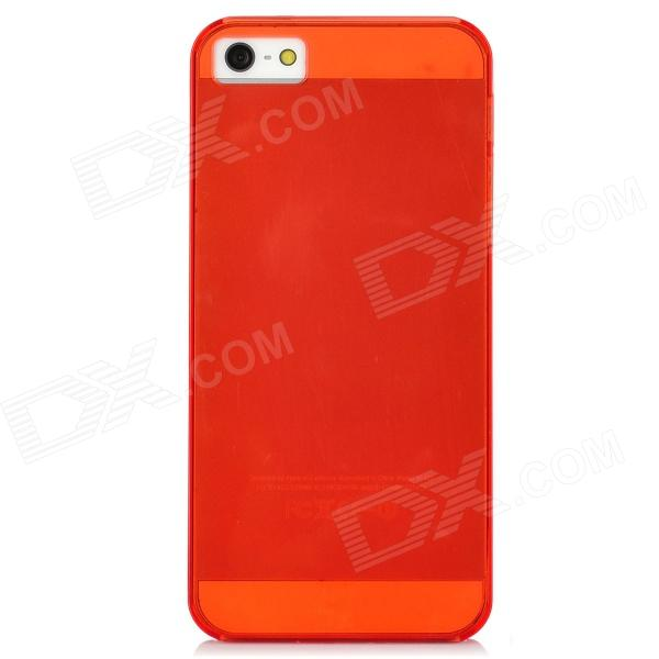 Protective Plastic Back Case for Iphone 5 - Transparent Red ultrathin fluorescent frame protective plastic back case for iphone 5 transparent orange