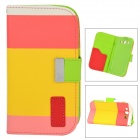 Colorful Lychee Pattern Protective PU Leather Case for Samsung Galaxy S3 i9300 - Yellow + Pink