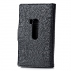 Lychee Pattern Protective PU Leather Case for Nokia Lumia 920 - Black