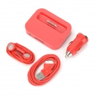 4-in-1 Car Charger Adapter + USB Cable + Charging Dock + Earphones Set for iPhone 4 / 4S - Red