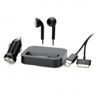 4-in-1 Car Charger + Desktop Charging Dock w/ Apple 30 Pin USB Data Cable / Earphones Set - Black