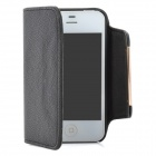 Detachable Magnetic PU Flip-Open Case + Back Case Set for Iphone 4 / 4S - Black