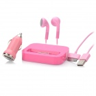 4-in-1 Car Charger + Desktop Charging Dock w/ Apple 30 Pin USB Data Cable / Earphones Set - Pink