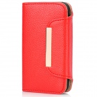 Protective PU Leather Magnetic Flip Open Case w/ Card Slots for Iphone 4 / 4S - Red