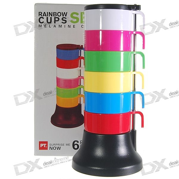 Colorful Stacking Set Cups (6-Cups) ceramic 4 piece stacking
