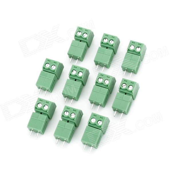 2EDG-3.81-2T Block Terminal Connectors - Green (10 PCS) diy h1 socket bulb connectors green 10 pcs