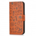 Protective PU Leather Flip Open Cartoon Case for iPhone 5 - Brown