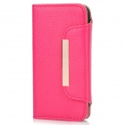 Protective PU Leather Magnetic Flip Open Case for Iphone 5 - Deep Pink