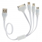 USB to Apple 30 Pin + 8 Pin Lightning + Mini USB + Micro USB Charging Cable - White (32cm)