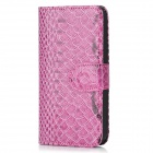 Protective Flip Open PU Leather Snakeskin Pattern Case for iPhone 5 - Purple