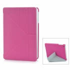 Smart 4-Section Folding ABS + PU Leather Case for iPad Mini - Deep Pink
