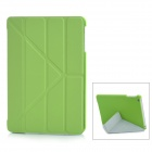 Smart 4-Section Folding ABS + PU Leather Case for iPad Mini - Green