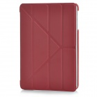 Smart 4-Section Folding ABS + PU Leather Case for Ipad MINI - Dark Red