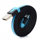 USB Male to Micro USB Male Charging Data Double-Faced Cable - Blue + Black (100cm)
